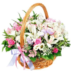 """Цветы в корзинке """"Нежное признание"""""""
